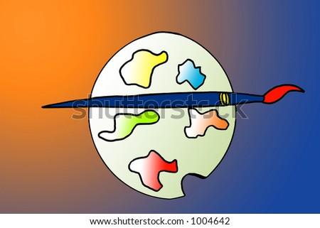 Bursh & Colours -> painting - stock photo