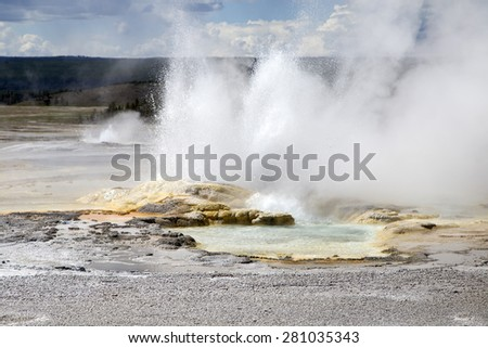 Burst from geyser at Yellowstone Park