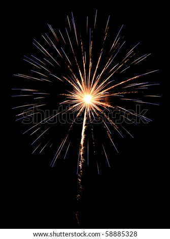 Burst of multicolored fireworks with white-hot core of explosion - stock photo