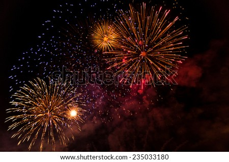 Bursting sky fireworks - stock photo