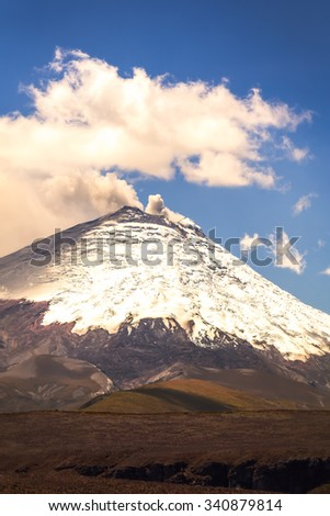 Bursts Of Ash And Gas From Ecuador Cotopaxi Volcano, South America - stock photo