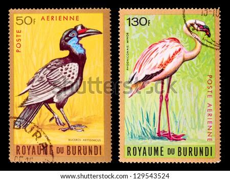 BURUNDI - CIRCA 1965: A set of postage stamps printed in BURUNDI shows birds, series, circa 1965 - stock photo