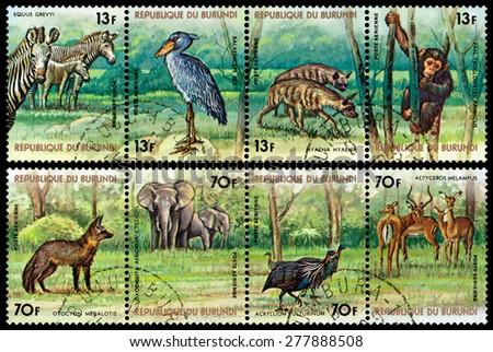 BURUNDI - CIRCA 1977: A stamp printed by Burundi shows  Animals Burundi, circa 1977. - stock photo