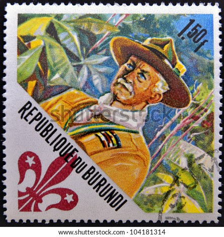 BURUNDI - CIRCA 1967: A stamp printed in Burundi dedicated to boy scouts shows Lord Baden-Powell (founder), circa 1967 - stock photo
