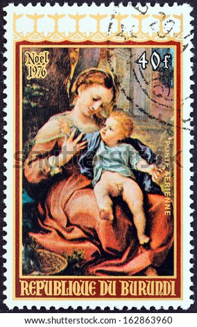 "BURUNDI - CIRCA 1976: A stamp printed in Burundi from the ""Christmas "" issue shows Virgin with Basket (Correggio), circa 1976."