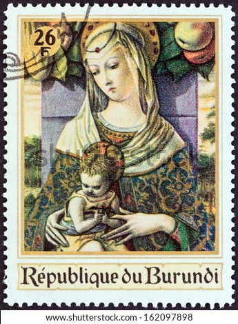 "BURUNDI - CIRCA 1967: A stamp printed in Burundi from the ""Christmas. Religious Paintings "" issue shows Madonna and Child (Carlo Crivelli), circa 1967."