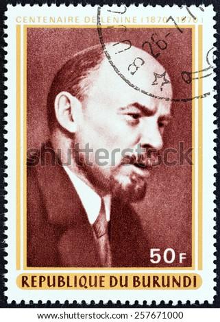 BURUNDI - CIRCA 1970: A stamp printed in Burundi issued for the birth centenary of Lenin shows Vladimir Ilyich Lenin, circa 1970.  - stock photo