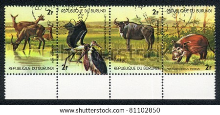 BURUNDI - CIRCA 1978: A Stamp printed in the Republic of Burundi shows image of Animals in Central Africa, circa 1978