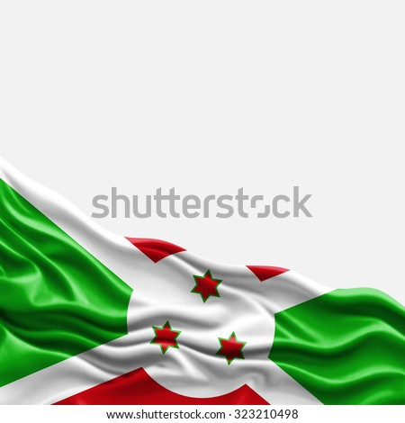 Burundi flag of silk with copyspace for your text or images and white background
