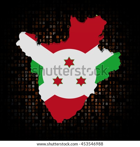Burundi map flag on hex code 3d illustration - stock photo