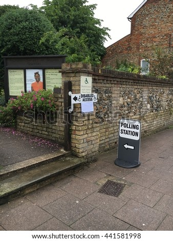 Bury Saint Edmunds, UK-June 23 2016: the entrance to a polling station on the day of the UK referendum, June 2016.