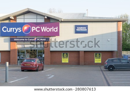BURY ST EDMUNDS, ENGLAND - 23 APRIL 2015: Sale sign outside Currys PC World, Carphone Warehouse who are one of the biggest Electrical appliances retailer in England, UK