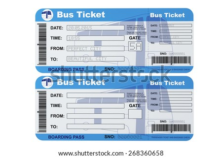 Attractive Bus Boarding Pass Tickets On A White Background Ideas Bus Ticket Template