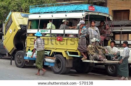 Bus Breakdown. Myanmar (Burma) - stock photo