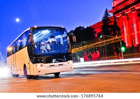 bus car headlight - stock photo