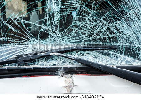 Bus crashed into a wall - stock photo