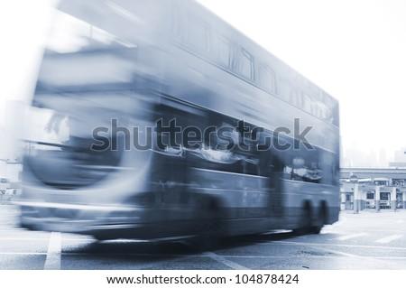 Bus in Hong Kong. long exposure - stock photo