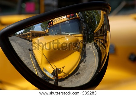 bus in mirror - stock photo