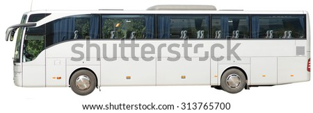 Bus on isolated white background, side view - stock photo