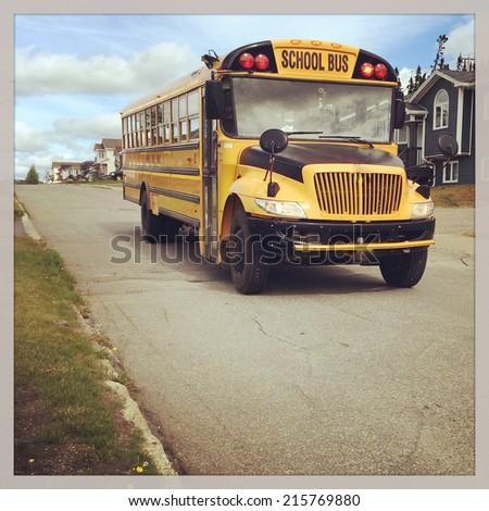 Bus on street - instagram effect - stock photo