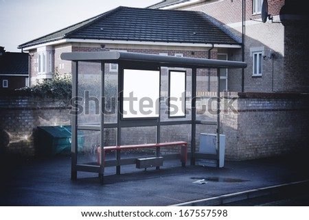 Bus shelter with blank signs - stock photo