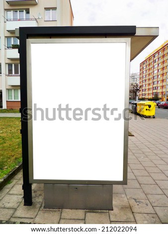 Bus stop advertising billboard for your advertisement - stock photo