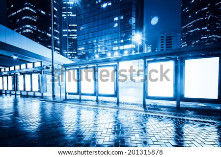 Bus stop billboard - stock photo