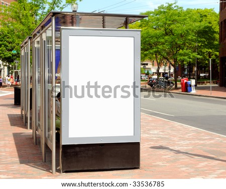 Bus stop billboard for outdoor advertising - stock photo