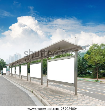 Bus stop billboard on stage - stock photo