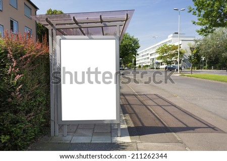 Bus stop billboard or poster, white, blank. Clipping path is included. - stock photo