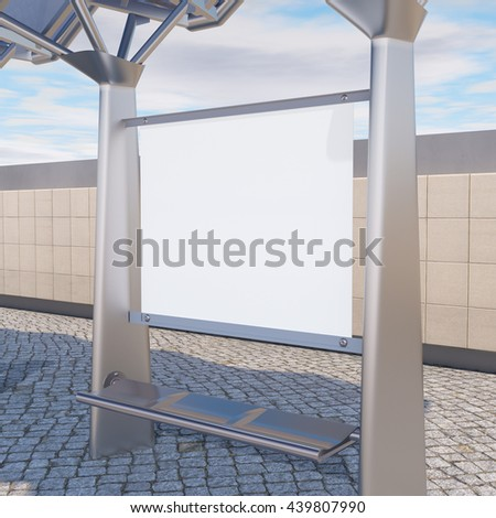 Bus stop billboard with copy space. Poster template isolated with clipping path. Mock up 3d render. - stock photo