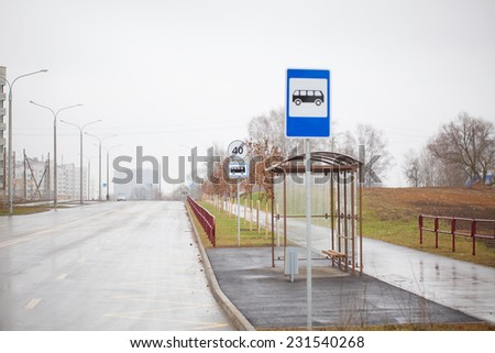 bus stop. direction indicator. crosswalk. - stock photo