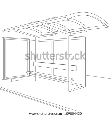 Bus Stop. Empty Design Template for Branding. Rasterized Version - stock photo