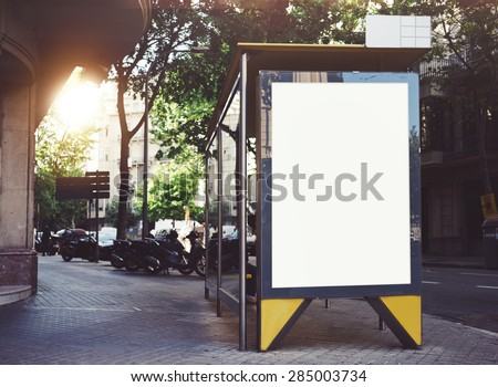 Bus stop mockup - stock photo
