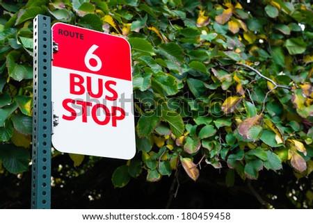 Bus Stop Route 6 Public Transit Downtown City Transportation - stock photo