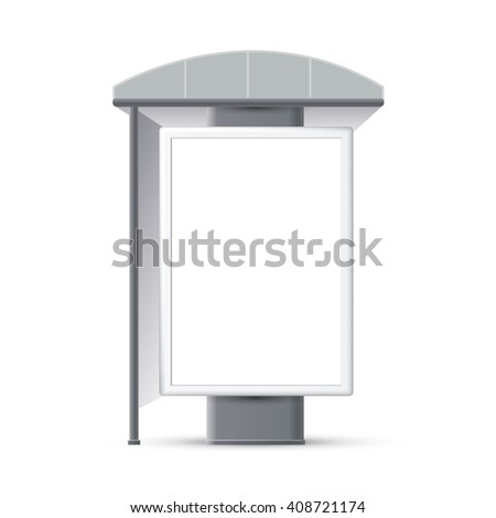Bus stop with an advertising banner, Making stops advertising banners, a booth at the exhibition, 3d bus - stock photo