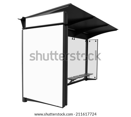 Bus stop with blank banners isolated on white background. Clipping Path included. - stock photo