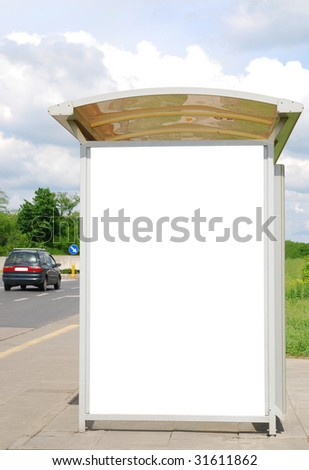 Bus stop with copy space - stock photo