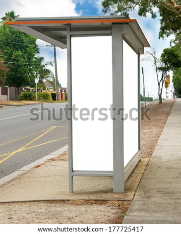 bus stop with white space text
