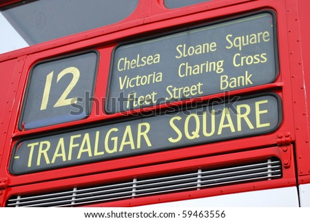 Bus to Trafalgar Square - stock photo