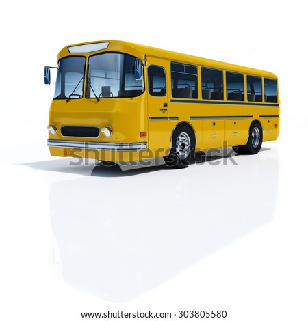 Bus yellow on a white background 3d rendering.