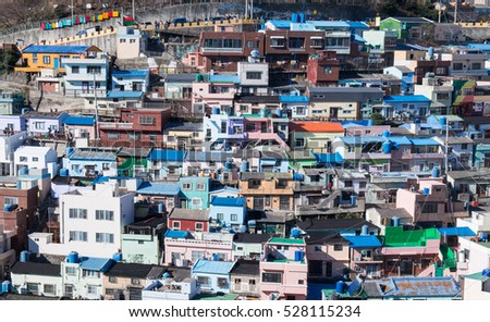 Busan, Korea - Dec. 25, 2015: Gamcheon Culture Villiage is formed by houses built in staircase-fashion on the foothills of a coastal mountain.