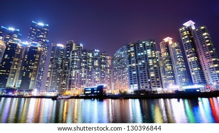 BUSAN, SOUTH KOREA - FEBRUARY 10: Residential high rises in Haeundae District February 10, 2013 in Busan, KR. The district is known for the affluent high-rises apartments which line the shore.