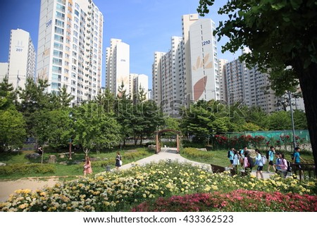 BUSAN, SOUTH KOREA - May 27, 2016: Rose Garden in Busan, South Korea