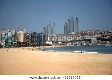 BUSAN, SOUTH KOREA - MAY 15: View of the city on May 15, 2014, Busan, South Korea. Busan is a modern city with the biggest harbour and beach in South Korea. - stock photo