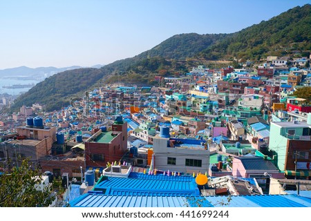 BUSAN,SOUTH KOREA -OCTOBER 26,2013: View of Gamcheon Culture Village.The area is known for its brightly painted houses, which have been restored and enhanced in recent years to attract tourism