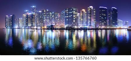 Busan, South korea panoramic skyline at Haeundae District. - stock photo