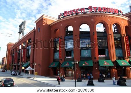 busch stadium down street - stock photo