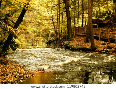 Bushkill Falls Waterfall - stock photo