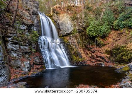 Bushkill waterfall at foll time in Poconos , PA - stock photo